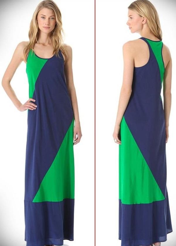 Iki Renkli Uzun Elbise Modelleri Iki Renkli Yazlık Bayan Uzun