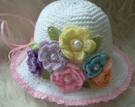 çiçekli kız çocuk şapka örnek modeli 2013