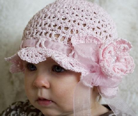 açık pembe kız çocuk 2013 şapka örnek modeli