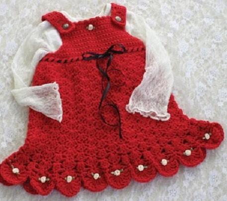kırmızı örgü modern kız çocuk elbise modeli