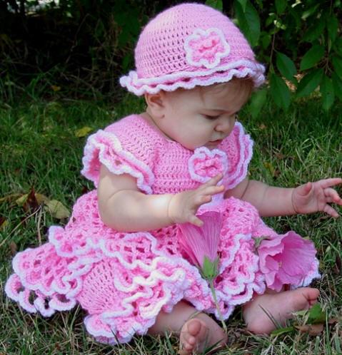 pembe yeni moda kız cocuk örgü elbise modeli