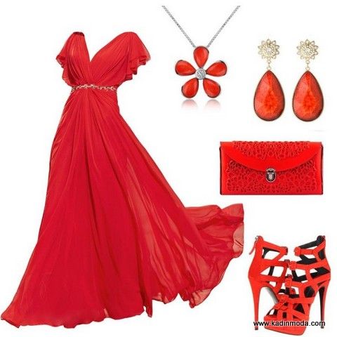 2015 yılbaşı gecesi için kırmızı renk elbise kombin modelleri