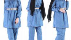 Tesettürlü Kadın Kot Etek Pantolon Tunik Kombin Modelleri